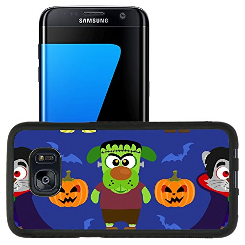 [Luxlady Premium Samsung Galaxy S7 Edge Aluminum Backplate Bumper Snap Case IMAGE ID: 31870702 Seamless with animal in Halloween] (Makeup For A Bat Costume)