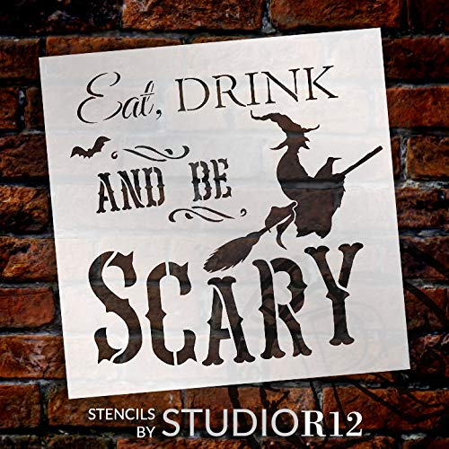 imouSde Eat Drink and Be Scary Halloween Wood Signs Home Decor Wall Art Wooden Plaque Bedroom Kids Gifts Sign