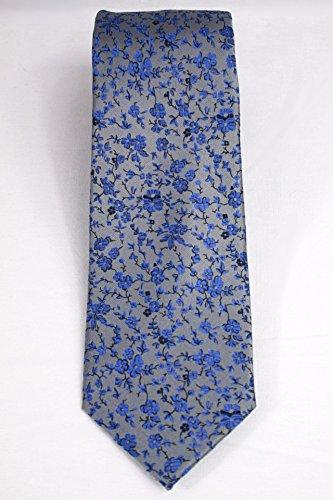 London Silk Necktie (Haines & Bonner of London Hand Made Necktie 100% Silk Floral Gray-Blue)
