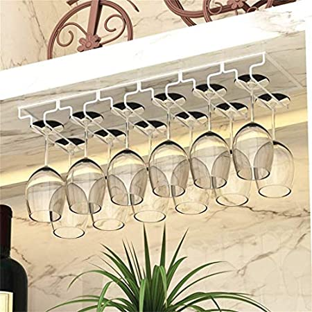 Estantería de vino 6 ranuras 12 tazas Metal plateado Vino Copa de champán Mango de vidrio, soporte de vidrio, estante de copa de vino con soporte de vidrio estante de vino pequeño ( Color : White )