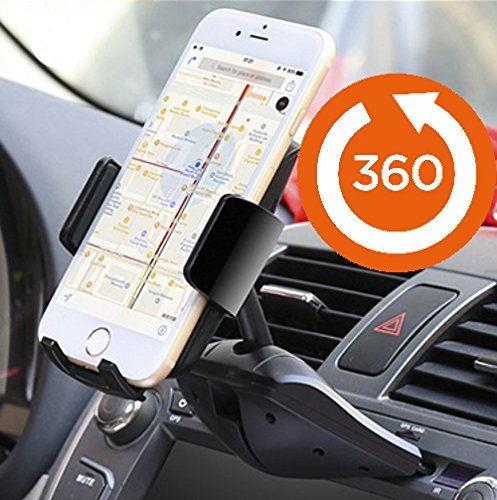 Price comparison product image Agoz 360° Rotating Car CD Slot Mount Holder for Motorola Moto G5 Plus, G5S Plus, Moto G4 Plus, G4, Moto G6 / G6 Play / G6 Plus, Moto Z3 Play, Moto Z, Z2 Force, Z2 Play, X4, Droid Turbo 2, Moto E4, E5