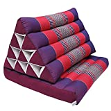 Thai triangle cushion with 1 folding seat, relaxation, beach, pool, meditation, yoga Violet/Red (81501)
