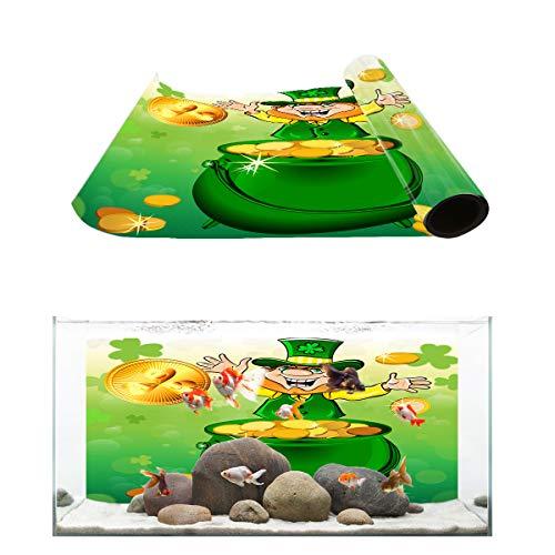 Libaoge Hat Pot with Leprechaun Fish Tank Background, Gold Ribbon Saint Coin Luck Ray Aquarium Décor Backgrounds Sticker Paper Decoration PVC Adhesive Photo Backdrop 30.4