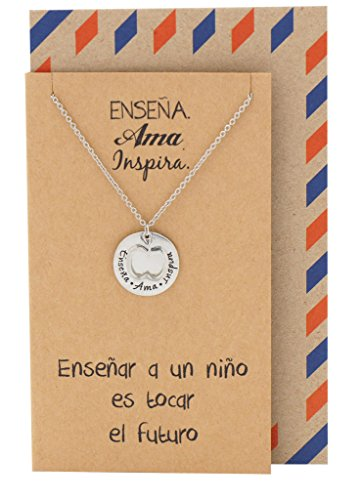 Quan Jewelry Teacher Gifts in Spanish Apple Jewelry Enseña Ama Inspira Engraving on Pendant, Gift Envelope and Greeting Card
