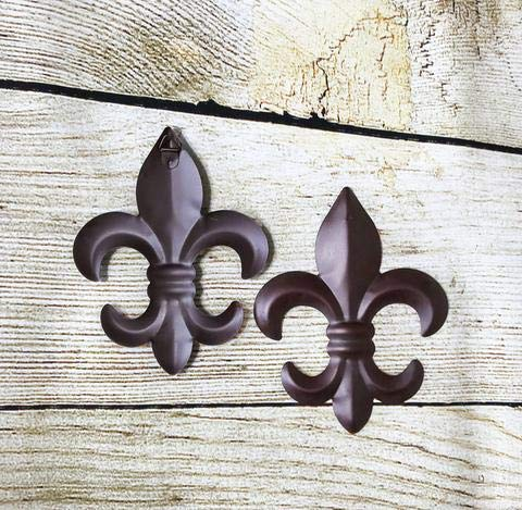 Set of 2 Tin FLEUR DE LIS Wall Plaque Hanging Home Wall Decor Gift