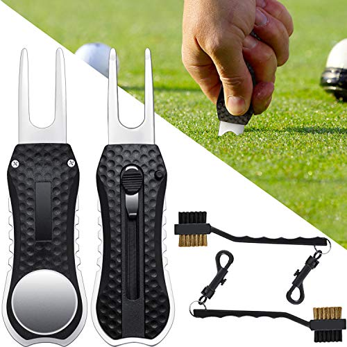Gejoy 2 Pieces Golf Divot Tool Divot Repair Tool with Magnetic Golf Ball Marker and 2 Pieces Golf Cleaning Brush