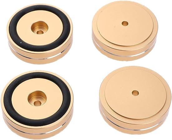 Baoblaze 4 Piezas Base de Aluminio Soporte del Cojín Pies del Aislamiento para Radio CD Placa Giratoria AMP, 50 x 15mm - Oro