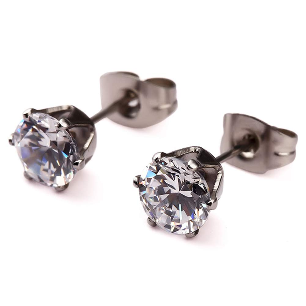 ED-69 Chryssa Youree Stainless Steel Mens Womens Silver Royal King Crown Stud Earrings Clear Round Cubic Zirconia Inlaid 3mm-8mm Available