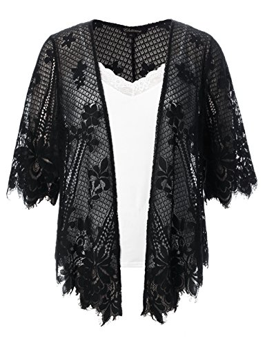 Chicwe Women's Plus Size Scalloped Lace Kimono Lace Cover up Top Black 2X by Chicwe