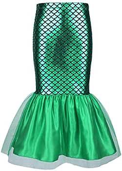 inhzoy Falda de Cola Sirena para Niña Disfraz de Sirenita ...