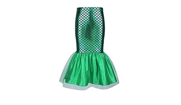 YiZYiF Falda de Sirena Princesa para Niñas Disfraz de Sirenita ...