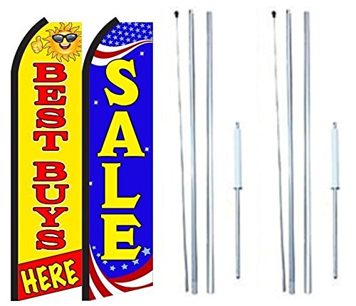 Best Buy Sale King Swooper Flag Sign With Complete Hybrid Pole set - Pack of 2 by OnPoint Wares