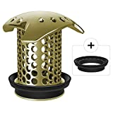 LEKEYE Drain Hair Catcher/Tub Drain Cover/Bathtub Shower Drain Protector/Strainer/Stainless Steel and Silicone-Bronze