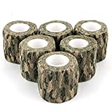 AIRSSON 5 Roll Camouflage Tape Cling Scope Wrap Military Camo Stretch Bandage for Gun Rifle Shotgun Camping Hunting 2' x5 yds Self-Adhesive (Woodland Camo - 6 Pack)