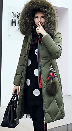 Ladies Quilted Jacket Womens Fur Winter WLITTLE Collar Womens Winter Puffer Warm Coat Long Parka Jacket Green Cotton Hooded Down P1q1vw7S