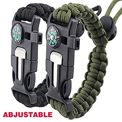 Survival Bracelet Paracord Military Bracelet Buckle Tool Adjustable Rope Accessories Kit, Fire Starter, Knife, Compass, Whistle,For Fishing Gear Supplies, Hiking Travel Camp(2pcs), by HGVOHU