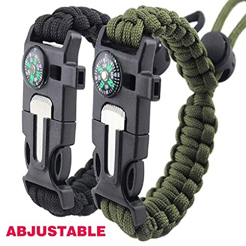 Survival Bracelet Paracord Military Bracelet Buckle Tool Adjustable Rope Accessories Kit, Fire Starter, Knife, Compass, Whistle,for Fishing Gear Supplies, Hiking Travel Camp(2pcs),