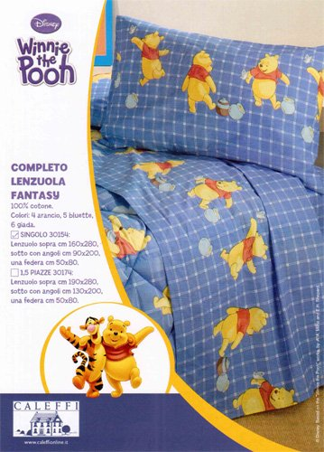 Winnie The Pooh Lenzuola.Caleffi Completo Lenzuola Winnie The Pooh Fantasy Arancio Una Piazza