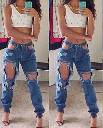Skinny Bleu Jeggings ZongSen Femmes Denim Pantalons Crayon Dchirs Collants Jeans Pantalon 5aFawq