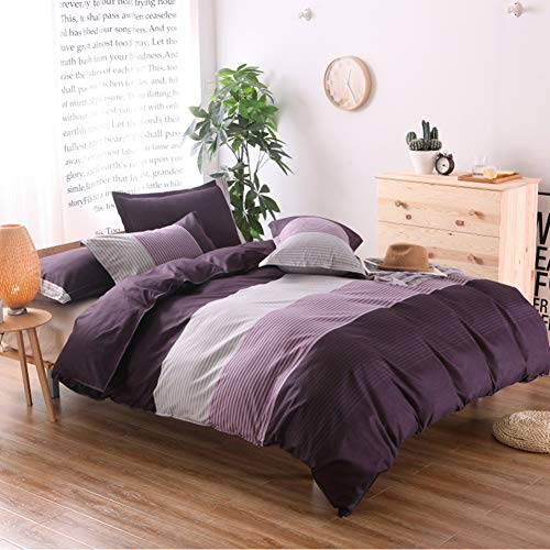 3 Pieces Quilt Bedding Set,Full/Queen Size Strip Printed Cotton Soft, Thin, Breathable Bedding Quilt Coverlets,1Duvet Cover+2 Pillowshams Purple 79x90inch