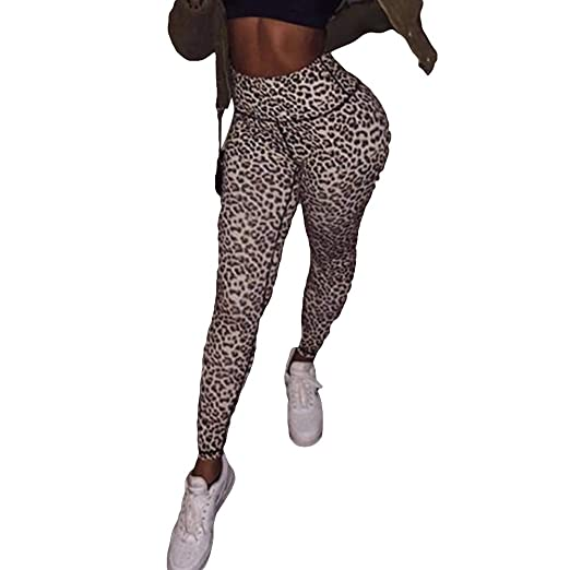 a41a5ce4ad77d Amazon.com: AkoMatial Women's High Waist Tights Push Up Leggings Leopard  Print Workout Skinny Pants: Clothing