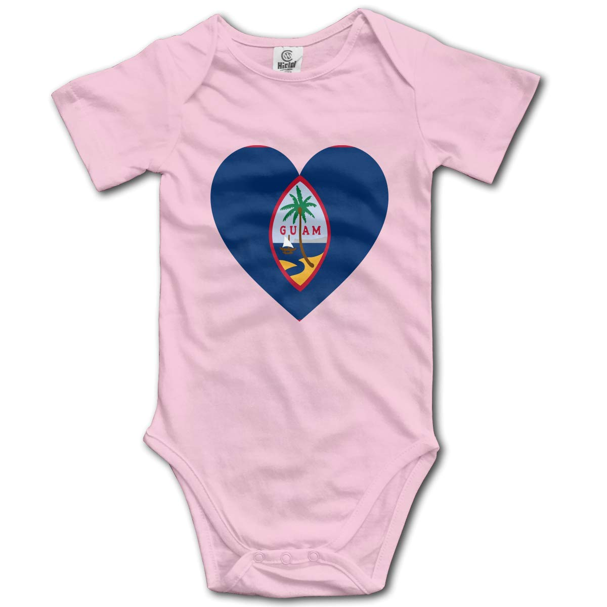 Baby Short-Sleeve Onesies Love Guam Flag Bodysuit Baby Outfits