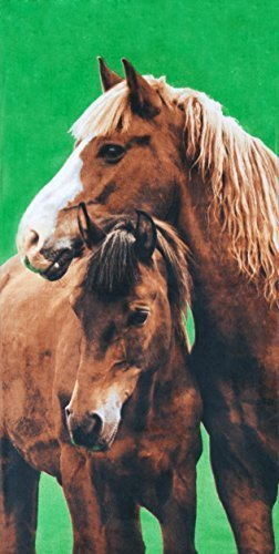 Country Horses Velour Beach Towel 30x60 Inches