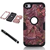 iPod Touch 6th Generation Case,Lantier Forest 3 Layers Verge Hybrid Soft Silicone Hard Plastic TUFF Triple Quakeproof Drop Resistance Protective Case Cover with Stylus Palm Branches/Black