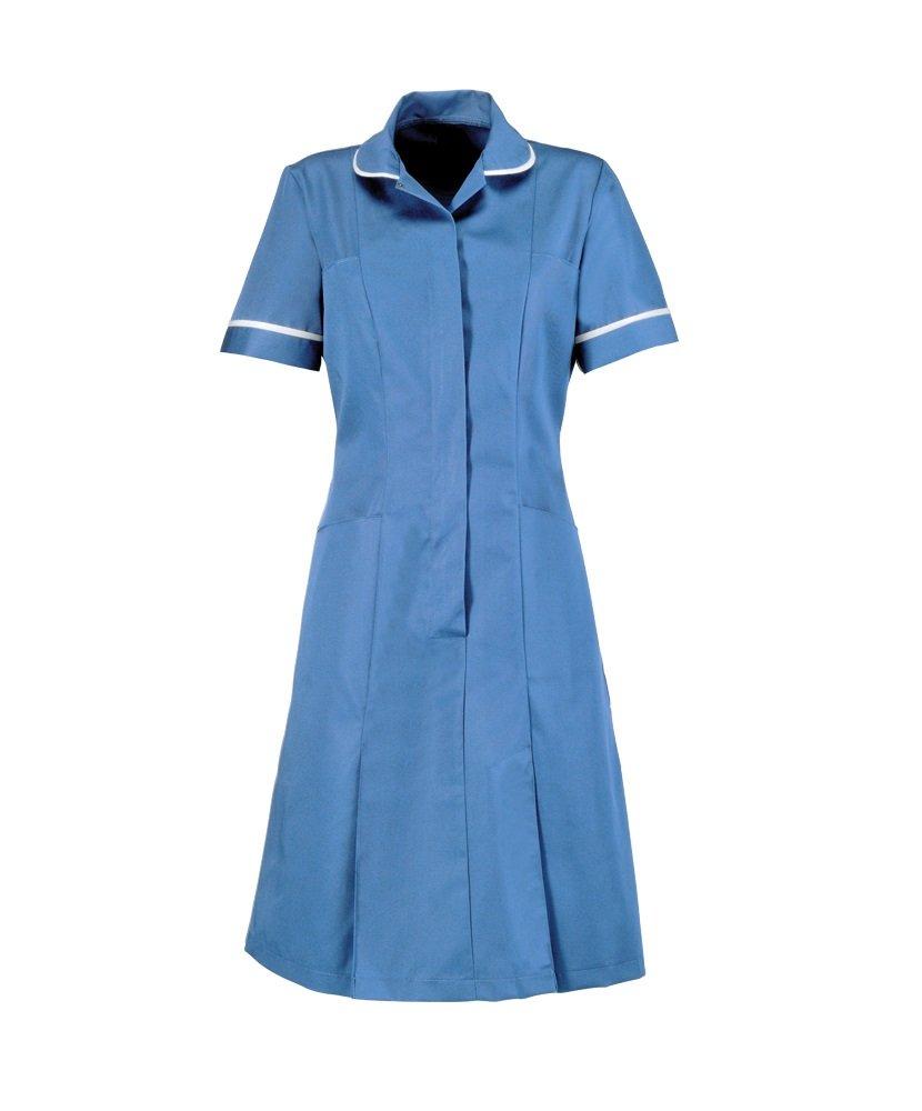 Plain Alexandra AL-HP297HB-144S Series AL-HP297 Zip Front Dress Hospital Blue 144 cm Chest White Piping//Trim Short Size 34
