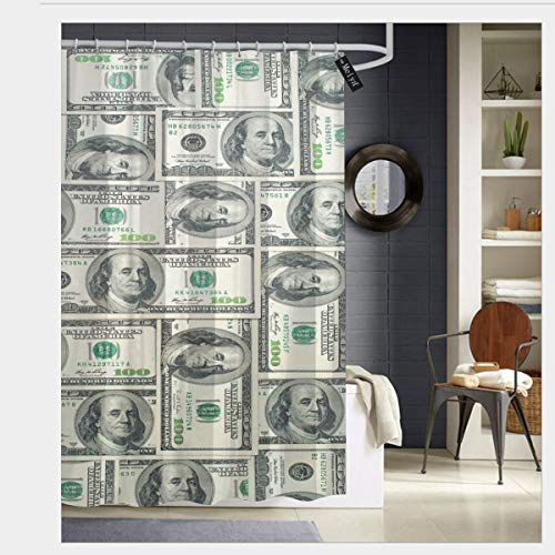 Dollar Bills of United States Federal Reserve with The Portrait of Ben Franklin Waterproof Shower Curtain - Water, Soap, and - Machine Washable - Shower Hooks are Included for Bathroom 60 x 72 inch