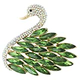 EVER FAITH Women's Austrian Crystal Elegant Swan Feather Pendant Brooch Emerald Color Silver-Tone