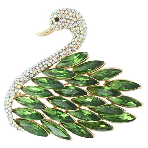 (EVER FAITH Women's Austrian Crystal Elegant Swan Feather Pendant Brooch Emerald Color Silver-Tone)