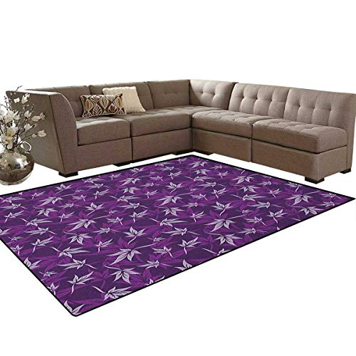 Indigo,Carpet,Abstract Lily Flowers Pattern Country Garden Spring Summer Season Themed Image,Non Slip Rug,Purple Lilac Size:6'x7'
