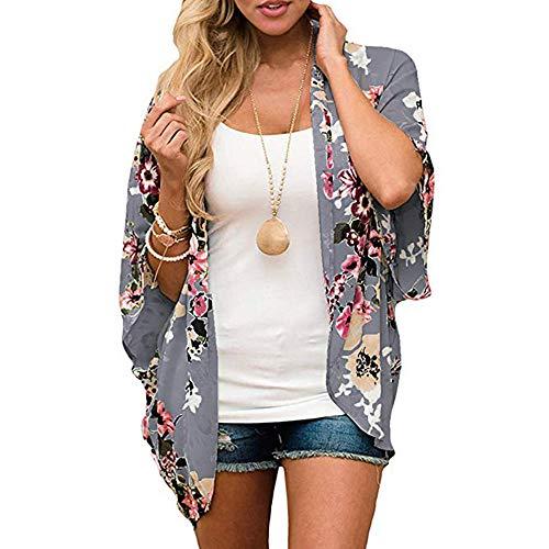LOVINO Kimonos for Women Floral Print Loose Tops Shawl Chiffon Cardigan Womens Kimonos Open Front Beach Cover Up Casual Dark Gray Medium