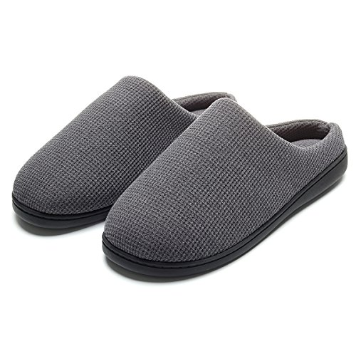 Cozy Spa House Indoor Slippers for Men Warm Lining Clog Slippers Dark Gray L by Harrms