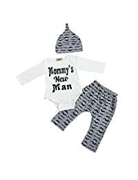 3PCS Clothes Set Binmer Mommy's New Man Letter Print Baby Boys Romper Tops +Long Pants Hat Outfits Clothes
