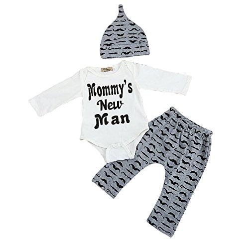 Wenjuan Infant Child Mustache Hat Suit Romper Tops+Long Pants+Hat Outfits Clothes 3PCS Set (0-3M, Gray)