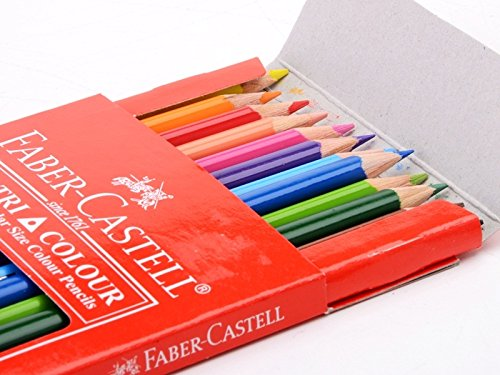 FC-105-TC12 Faber-castell Soft Lead-no Pressure Required Tri-colour Pencils (Set of 12)