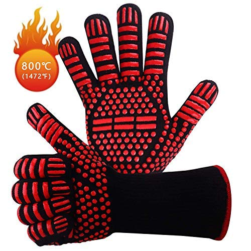 BBQ Grill Gloves 1472℉ Extreme Heat Resistant Barbecue Grill Gloves Kitchen Tool Sets Oven Mitts Gloves for Baking,Cooking and Welding Camping,Red Silicone Long Non-slip Potholder Gloves