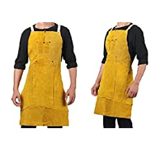 Joyutoy Yellow Welding Bib Apron Cowhide Split Leather Safety Apparel With Pocket 24-Inch x 36-Inch