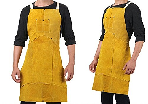Promotional Apron (Joyutoy Leather Welding Bib Apron Cowhide Split Leather Safety Apparel Flame Resistant Apron With Pocket 24-Inch By 36-Inch Yellow)