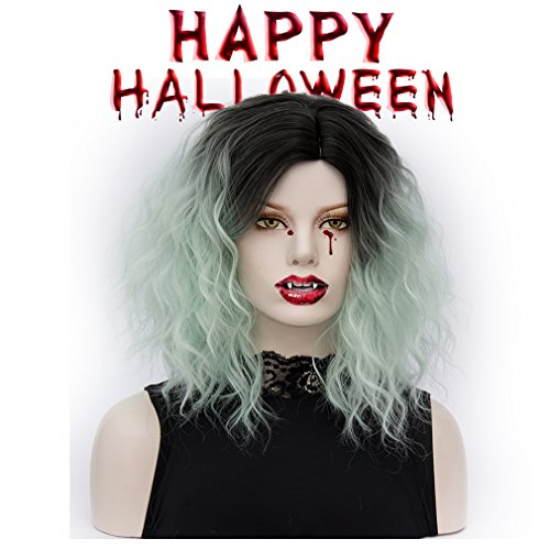 Bob wig Ombre Short Curly Synthetic Hair Wigs Full Wig for Women Daily Use Cosplay (Halloween Costume Ideas Uk)