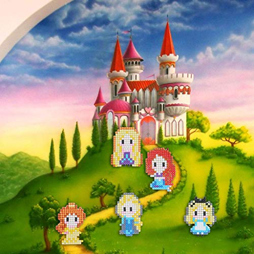 JDgoods DIY Cute Cartoon Princess 5D Diamond Painting Wall Sticker, Removable DIY Kids Art Painting Decor Wall Stickers Murals for Living Room TV Background Kids Gilrs Rooms Bedroom Decoration