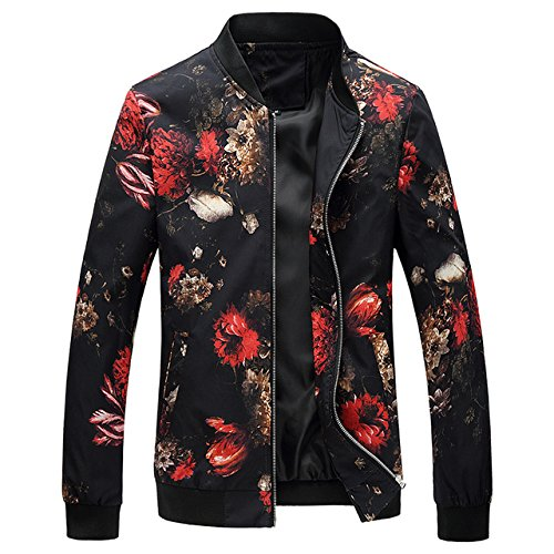 World2home 2018 Spring Autumn Bomber Jacket Men Floral Printed Fashion Slim  Fit Mens Casual Jackets Long Sleeve Mens Windbreaker Coat Male  Amazon.in   ... 69fef5623de0
