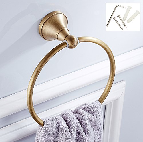Ring Gold Towel (ROSE CREATE Retro Gold Solid Brass Towel Ring Holder, Wall Mounted Towel Rack Bar Hanger, Bathroom Kitchen Rustproof Antique Brass Finished Towel Rail - Antique Brass)