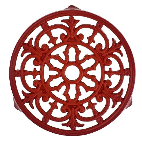 French Fleur De LYS Enameled Cast Iron Trivet 9-inch Diameter Red. Red by Unknown