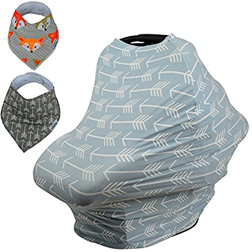 Baby Car Seat Nursing Cover BONUS Bandana Drool Bibs Drawstring Carry Bag Shower Gift Breathable Stretchy Universal 4 In 1 Multi Use Infant Carseat