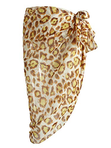 CHIC DIARY Women Swimwear Chiffon Pareo Beach Cover Up Bikini Sarong Swimsuit Wrap Skirts (Leopard-Yellow)