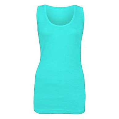 0149eddec49 Elegant Vaps Women Sleeveless Rib Vest Top Women Plain Summer T Shirt Cotton  Tops Plus Size Black  Amazon.co.uk  Clothing