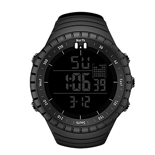 Men's Digital Sport Watch SENORS Electronic LED Fashion Waterproof Outdoor Casual Wrist Watch Black
